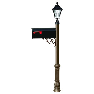 Lewiston Post with Economy 1 Mailbox, Ornate Base in Bronze Color with Black Solar Lamp