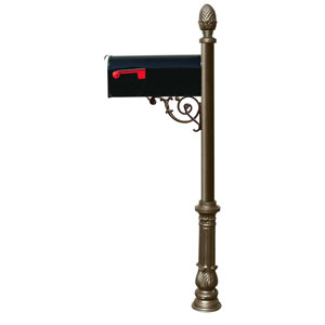 Lewiston Bronze Post with Support Brace, E1 Economy Mailbox, Ornate Base and Pineapple Finial