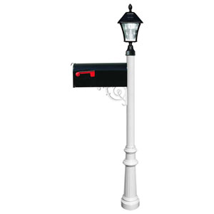 Lewiston Post with Economy 1 Mailbox, Fluted Base in White Color with Black Solar Lamp