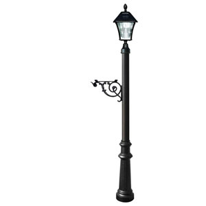 Lewiston Post Only with Support Brace, Fluted Base in Black Color and Bayview Solar Lamp