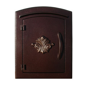 Manchester Antique Copper Non-Locking Decorative Scroll Door Column Mount Mailbox