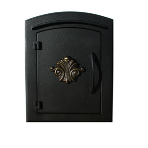 Manchester Black Non-Locking Decorative Scroll Door Column Mount Mailbox