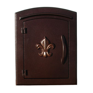 Manchester Antique Copper Non-Locking Decorative Fleur-De-Lis Door Column Mount Mailbox