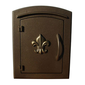 Manchester Bronze Non-Locking Decorative Fleur-De-Lis Door Column Mount Mailbox