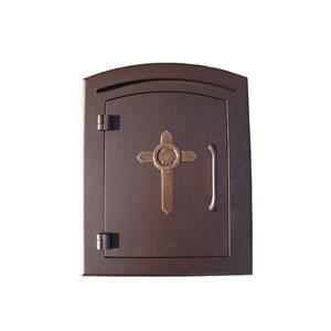 Manchester Antique Copper Non-Locking Decorative Cross Logo Door Column Mount Mailbox