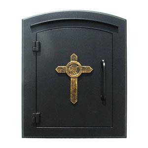 Manchester Black Non-Locking Decorative Cross Logo Door Column Mount Mailbox