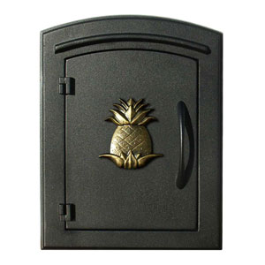 Manchester Black Non-Locking Decorative Pineapple Logo Door Column Mount Mailbox