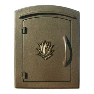 Manchester Bronze Non-Locking Decorative Agave Logo Door Column Mount Mailbox