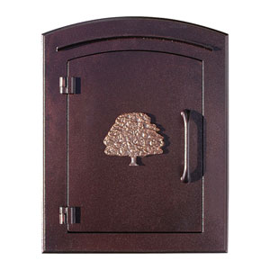 Manchester Antique Copper Non-Locking Decorative Oak Tree Logo Door Column Mount Mailbox