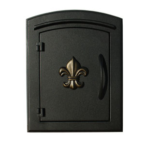 Manchester Black Security Option with Decorative Fleur-De-Lis Door Manchester Faceplate