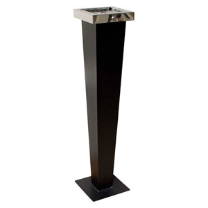 Huron Free Standing Cigarette Ash Receptacle, Black w/Chrome