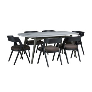 Benedict Grey Marble Top Dining Set with Calvin Chairs