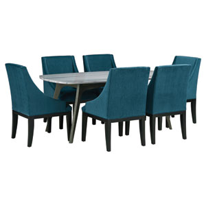 Benedict Grey Marble Top Dining Set with Diana Dark Teal Velvet Chairs