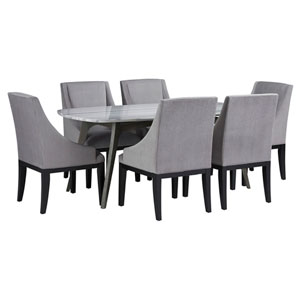 Benedict Grey Marble Top Dining Set with Diana Grey Velvet Chairs