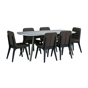 Benedict Grey Marble Top Dining Set with Fredrick Chairs