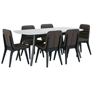 Benedict White Wood Top Dining Set with Fredrick Chairs