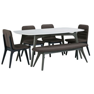 Benedict White Wood Top Dining Set with Bench and Fredrick Chairs