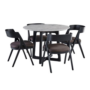 Clara Round Dining Table with Marble Top and Calvin Chairs