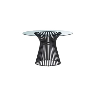 Naomi Round Dining Table with Black Base and Glass Top