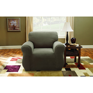 Taupe Stretch Pique Chair Slipcover