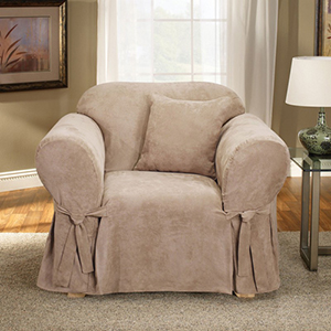 Taupe Soft Suede Chair Slipcover