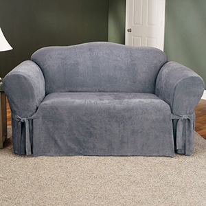 Smoke Blue Soft Suede Loveseat Slipcover