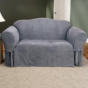 Smoke Blue Soft Suede Sofa Slipcover