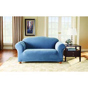 Federal Blue Stretch Pique Loveseat Slipcover