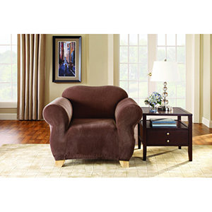 Chocolate Stretch Pique Chair Slipcover