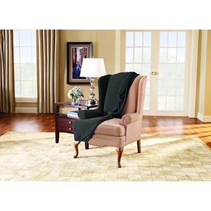 Black Stretch Pique Wing Chair Slipcover