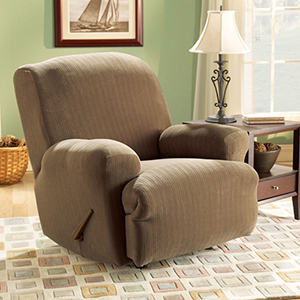 Taupe Stretch Pinstripe Recliner Slipcover