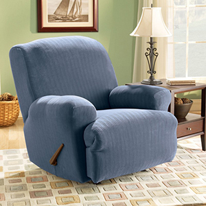 French Blue Stretch Pinstripe Recliner Slipcover