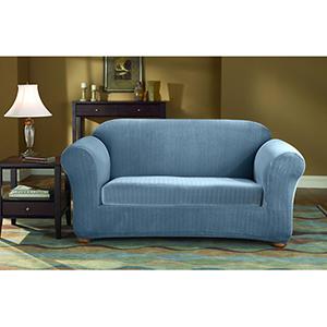 French Blue Stretch Pinstripe Sofa Slipcover
