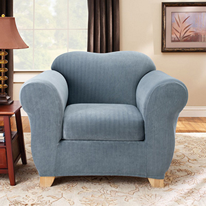 French Blue Stretch Pinstripe Chair Slipcover