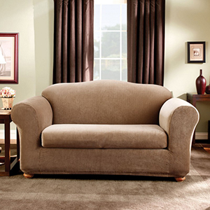 Brown Stretch Stripe Loveseat Slipcover