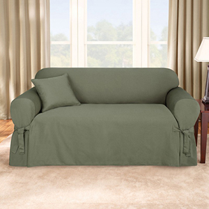 Dark Green Logan Loveseat Slipcover
