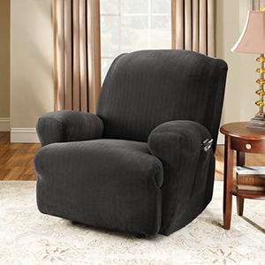 Black Stretch Pinstripe Recliner Slipcover
