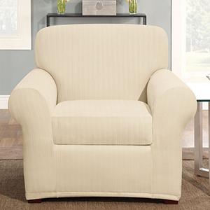 Cream Stretch Pinstripe Chair Slipcover