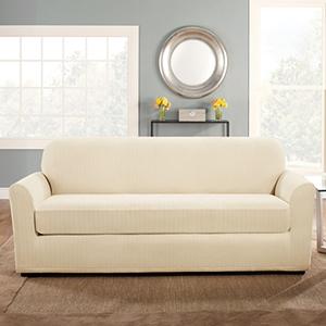 Cream Stretch Pinstripe Sofa Slipcover