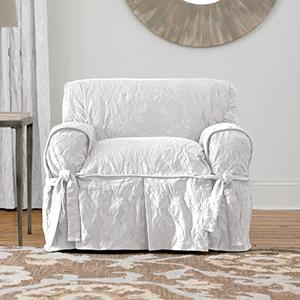 White Matelasse Damask Chair Slipcover