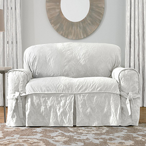 White Matelasse Damask Loveseat Slipcover
