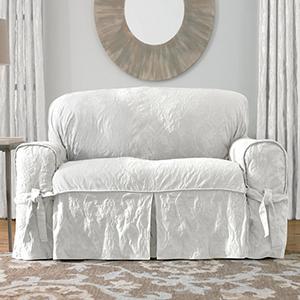 White Matelasse Damask Loveseat Slipcover