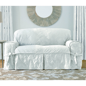 White Matelasse Damask Sofa Slipcover