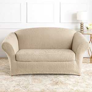 Ivory Stretch Jacquard Damask Loveseat Slipcover