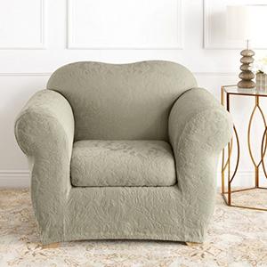 Sage Stretch Jacquard Damask Chair Slipcover