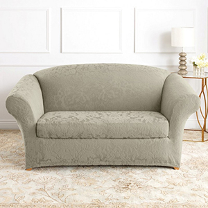 Sage Stretch Jacquard Damask Loveseat Slipcover