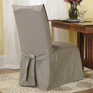 Linen Cotton Duck Long Dining Room Chair Slipcover
