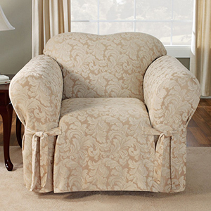 Champagne Scroll Chair Slipcover