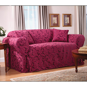Burgundy Scroll Sofa Slipcover