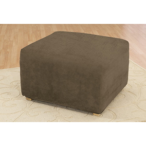 Taupe Stretch Pique Ottoman Slipcover